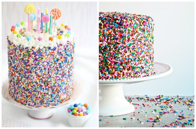 Bolo decorado com granulado colorido - Decorar bolos de forma simples