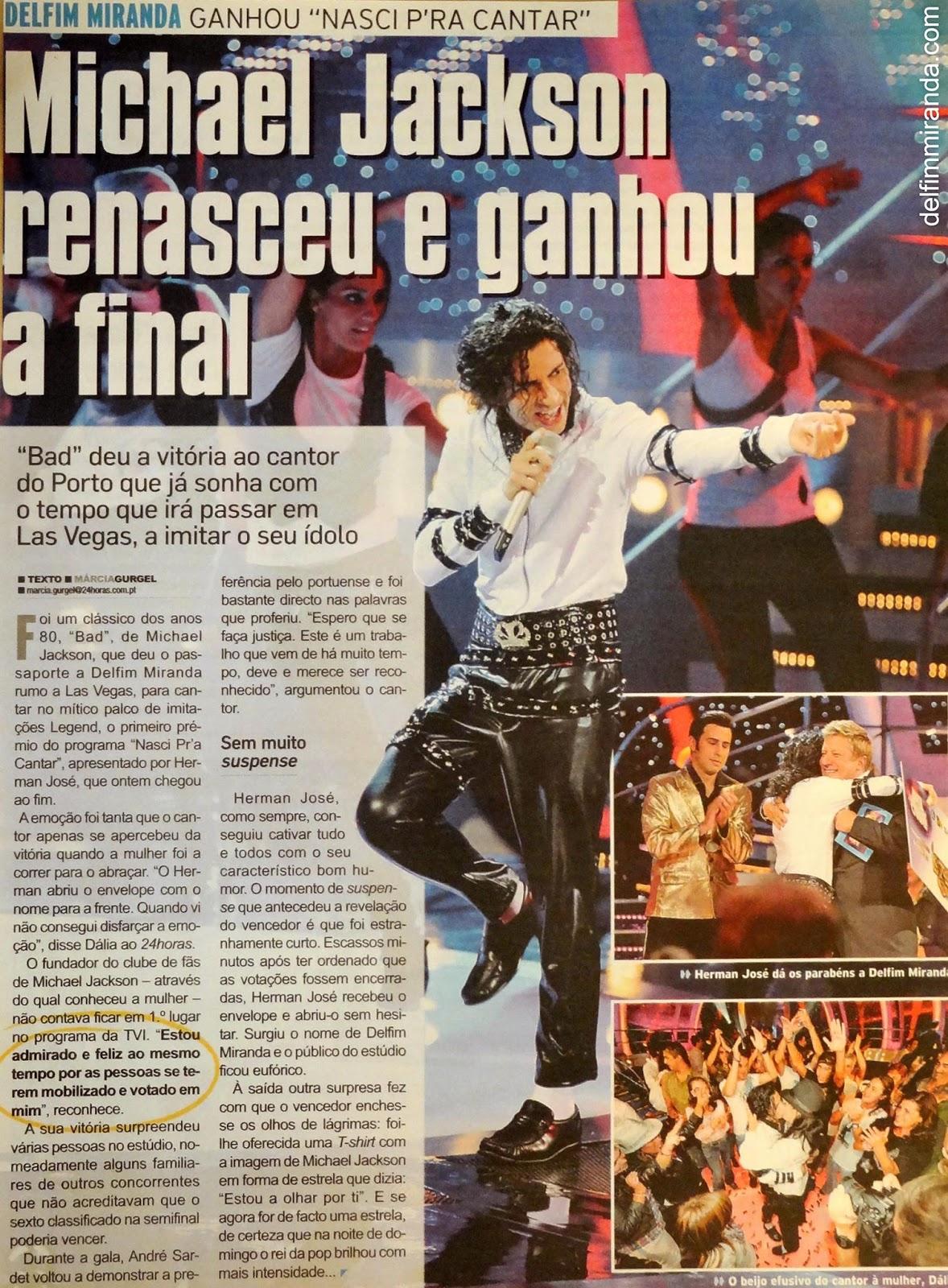Delfim Miranda - Michael Jackson Tribute - Newspaper 24hours - Michael Jackson was reborn and won the finals