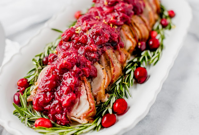 BACON WRAPPED PORK TENDERLION WITH CRANBERRY SAUCE