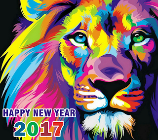 Lion Multicolor graffiti Happy New Year 2017 HD Wallpapers