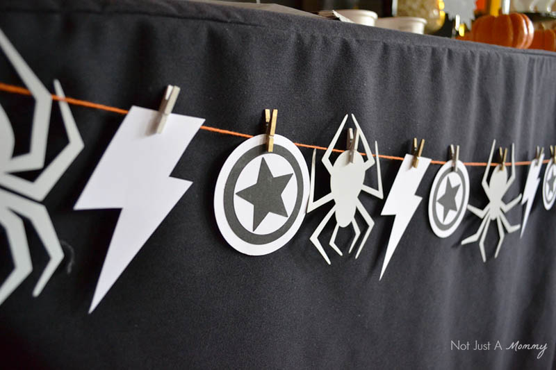 Movie Marathon Marvel Table Bunting Superhero Symbols Night at the Movies Home Theater
