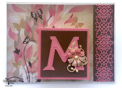 Custom Dies: Letter M, Leaves and Branches, Double Stitched Squares, Flower Lattice, Pretty Posies Paper Collection:Beautiful Blooms