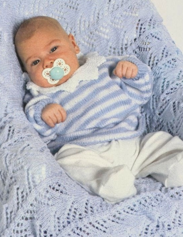 Suéter Rayado de Bebé tejido a Dos Agujas
