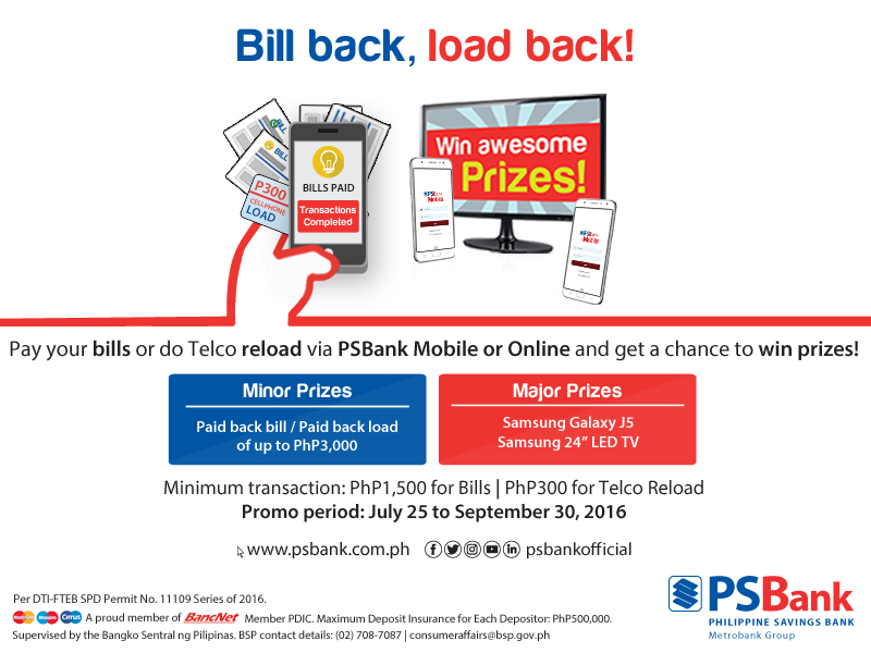 PSBank Bill Back Load Back Promo