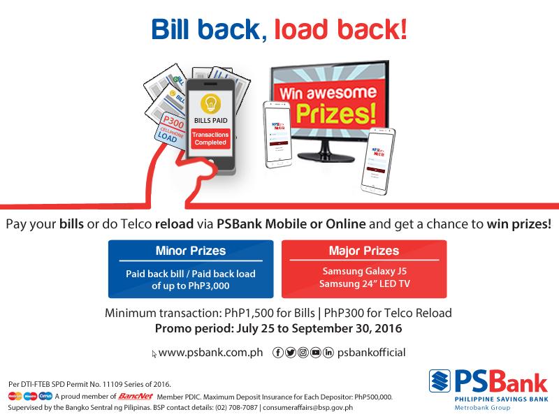 PSBank Bill Back Load Back Promo