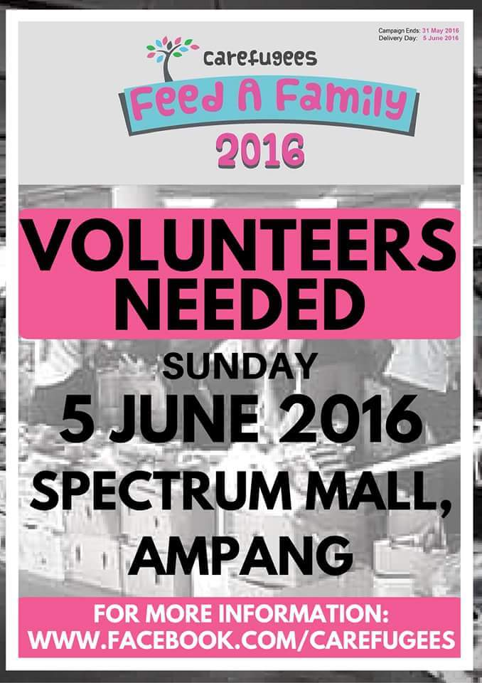 VOLUNTEERS NEEDED!! Carefugees Feed a Family Campaign 2016