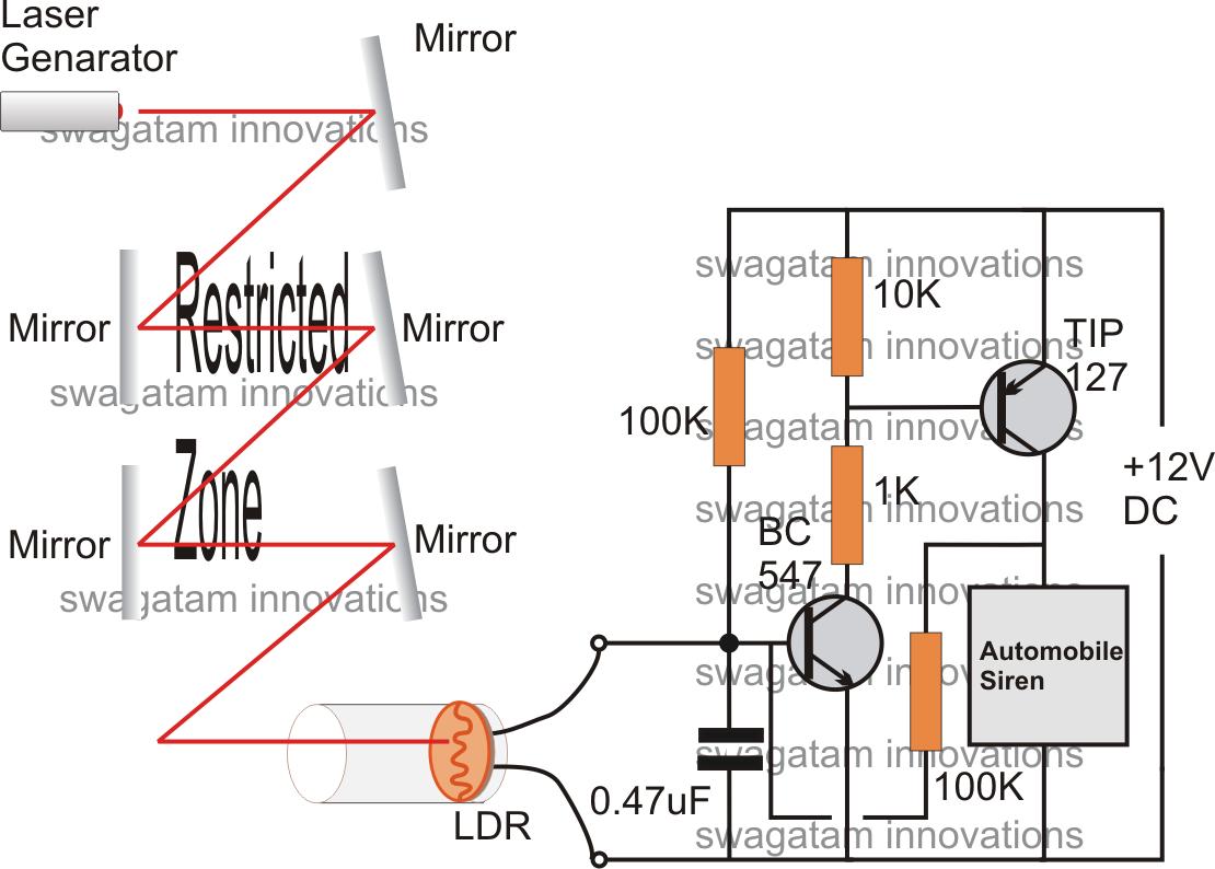 Simple Burglar Alarm Circuits | Circuit Diagram Centre