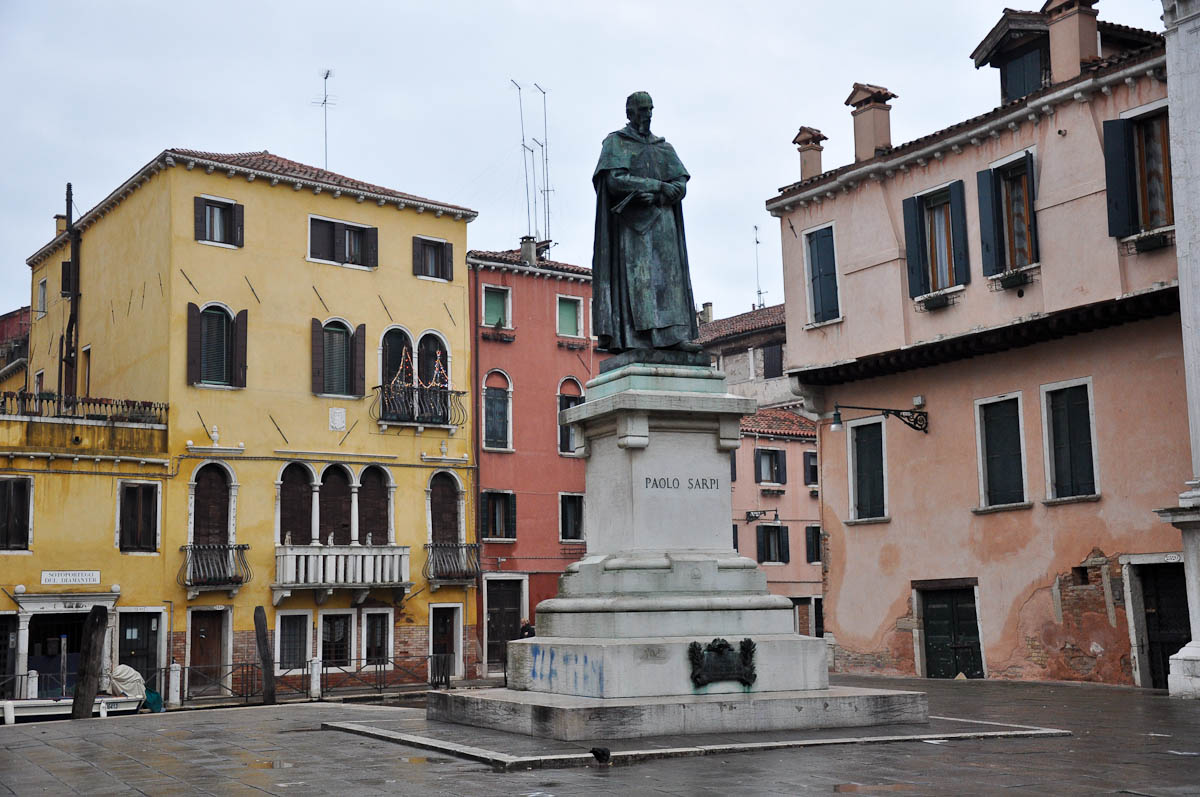 Square with a monument of Paolo Sarpi, Venice, Italy