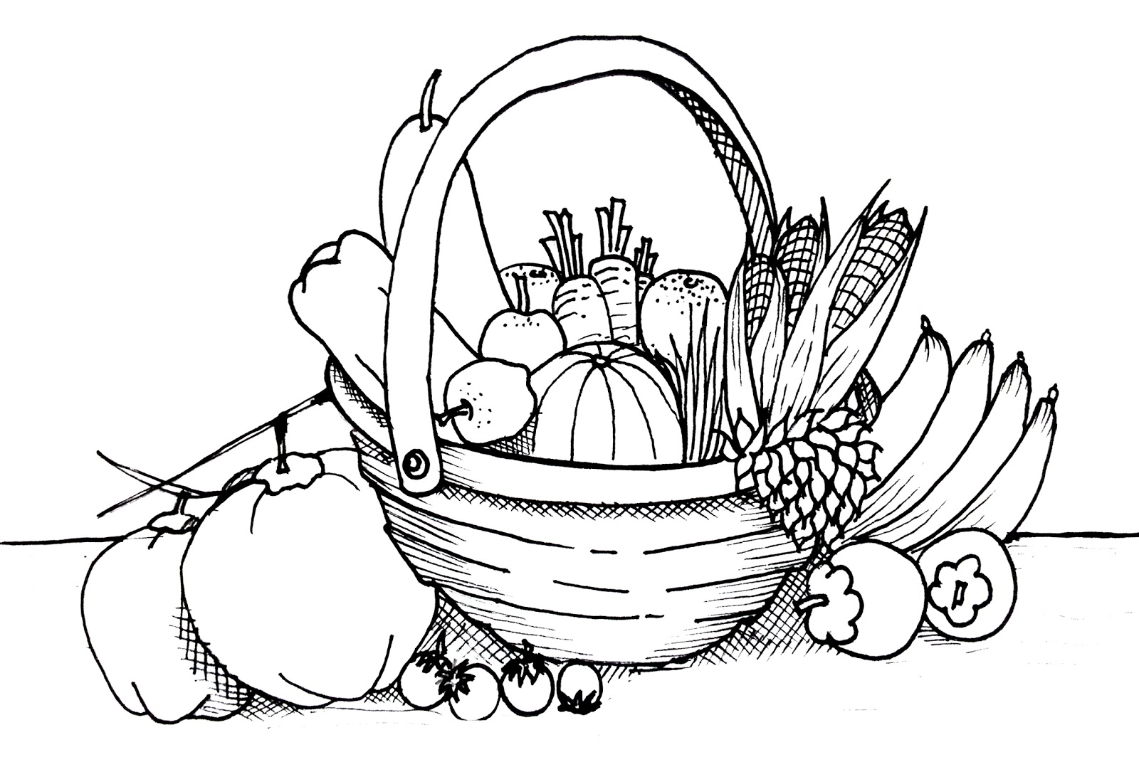 Free coloring pages of vegetable gardens for Printable fruit coloring pages