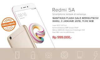 Catat ! Lazada Kembali Adakan Flash Sale Xiaomi Redmi 5a 3 Januari 2018
