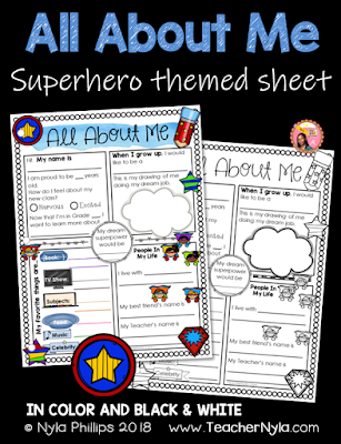 Superhero Themed All About Me Writing Sheet