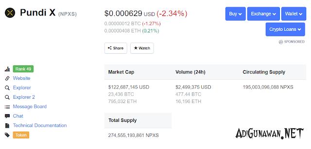 prediksi harga npxs pundi x 2020