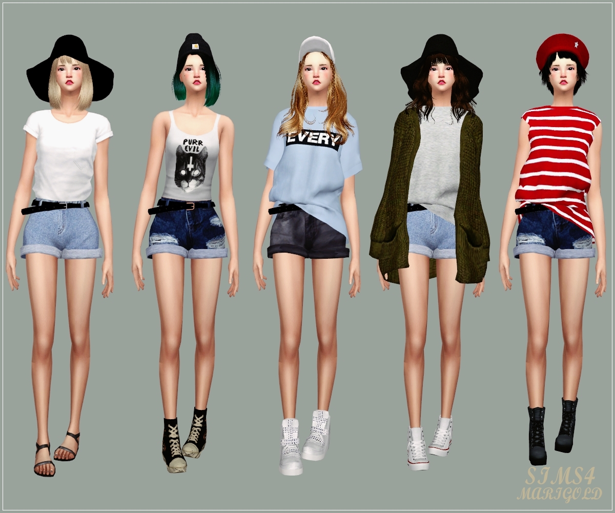 Belt Hot Pants 벨트 핫 팬츠 여자 의상 Sims4 Marigold