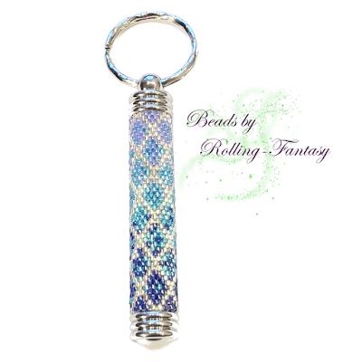 Schlüsselanhänger mit Geheimfach in Silber und Blau