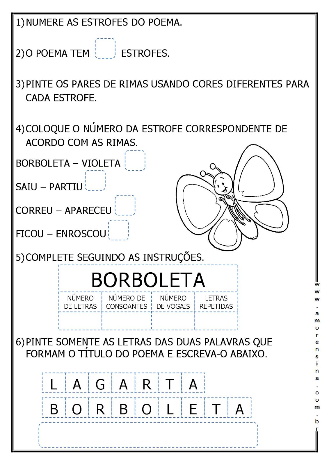 Muitas vezes LAGARLETA - ( DE LAGARTA A BORBOLETA) - INTERDISCIPLINAR - 1º ANO  DR46