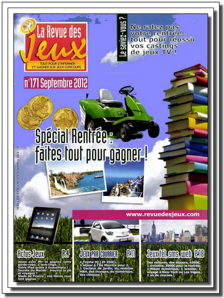 La Revue Des Jeux N°171 - Septembre 2012 [Lien Direct]