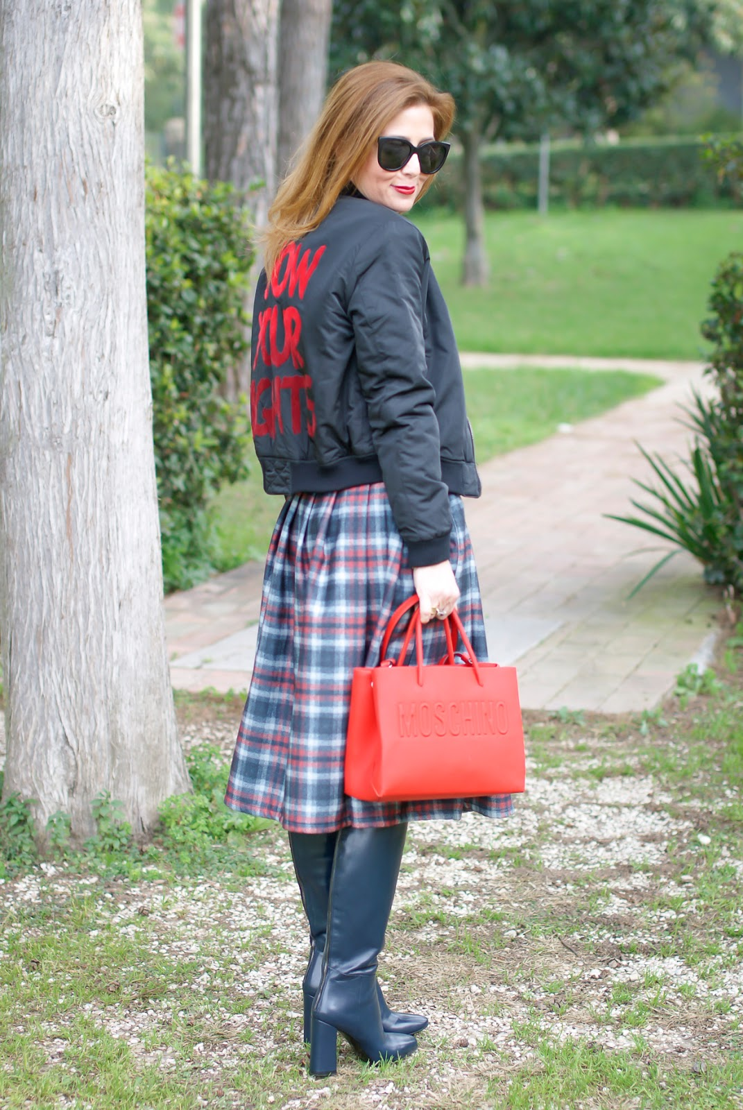 Checked embroidered skirt and bomber jacket, Giovanni Fabiani boots on Fashion and Cookies fashion blog, fashion blogger style