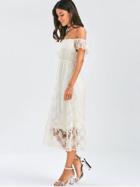 Off-Shoulder Ruffle Lace Wedding dress zaful