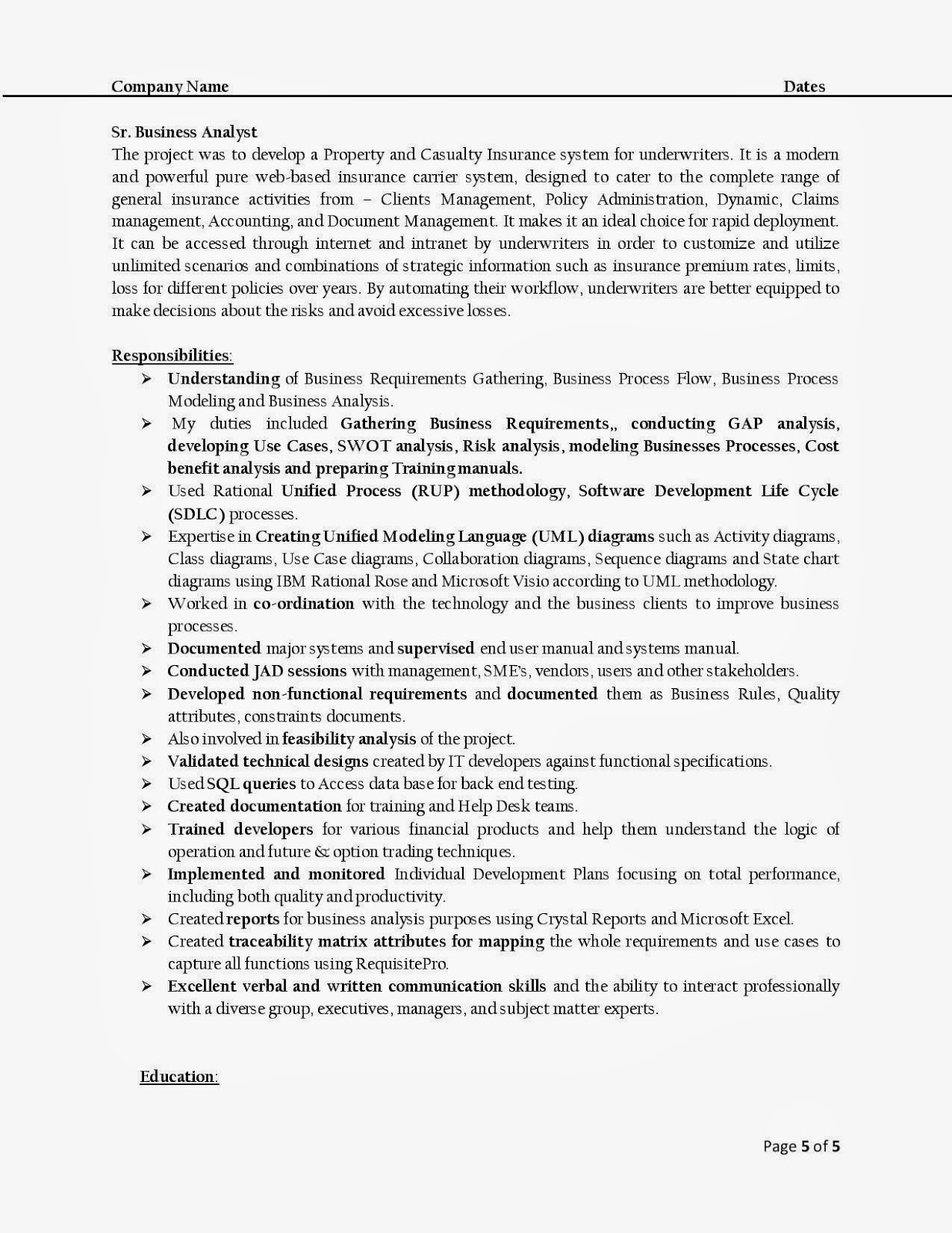 Sample Resume For Qa Analyst – Sample Qa Analyst Resume