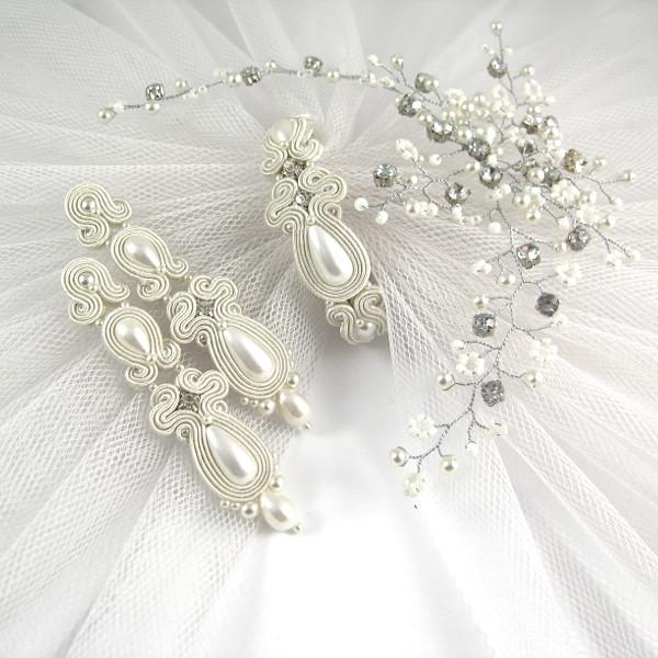 Komplet ślubny sutasz ivory z perłami i kryształkami.