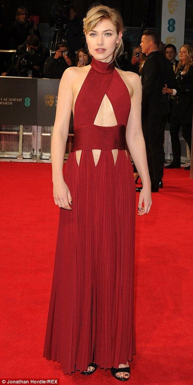 Imogen Poots in a scarlet Givenchy gown at the BAFTA 2014