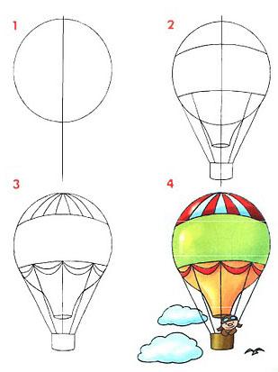 Cómo dibujar un globo aerostático