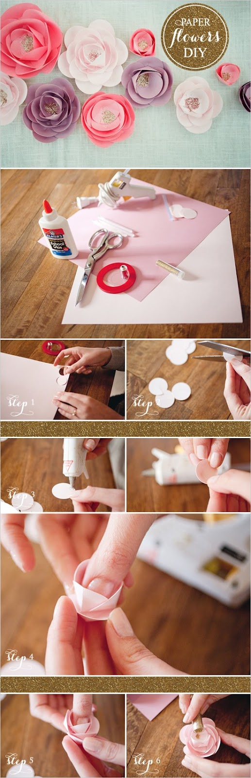 DIY glitter paper flower tutorials - Flower Tutorials Directory - Click through to view 30 Fabulous Flower Tutorials!