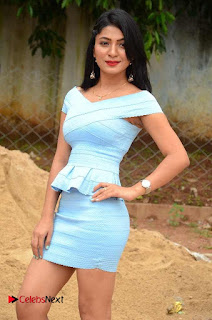 Actress Ankitha Jadhav Pictures in Blue Short Dress at Cottage Craft Mela 0004