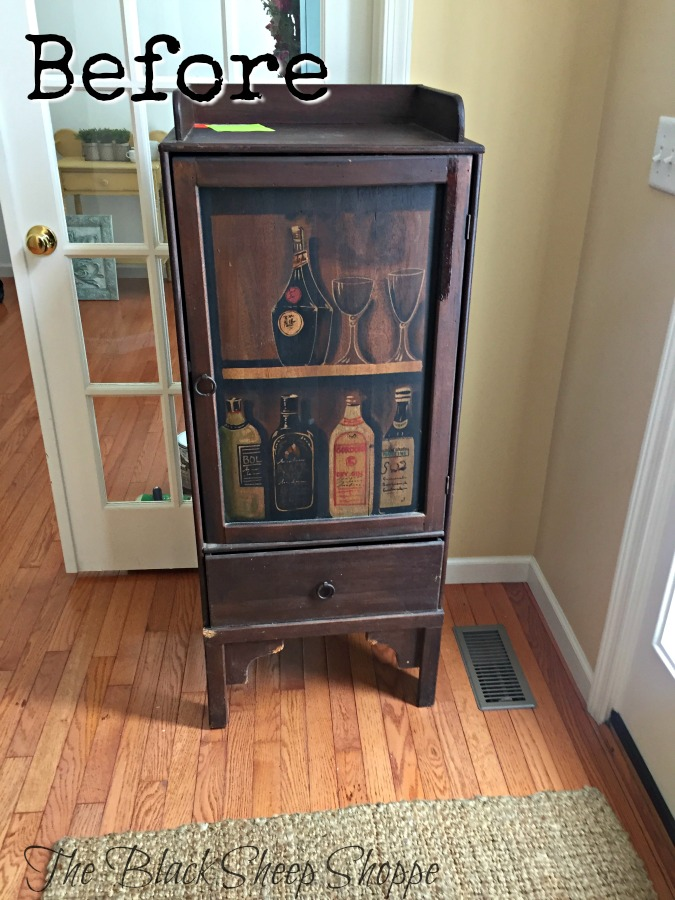 This liquor cabinet was too style-specific. But I envisioned it as a functional storage piece.