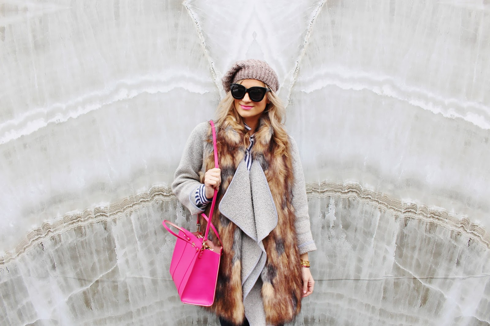 Bijuleni- Layering an outfit in winter. Faux Fur Vest, Grey Cardi, Quay Sunglasses, Kate Spade Tote
