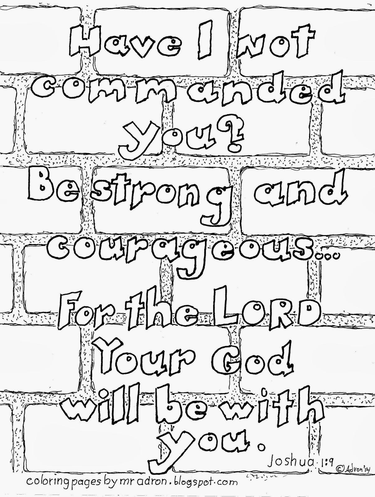 Coloring pages for john 9 - Joshua 1 9 Be Strong And Courageous Coloring Page