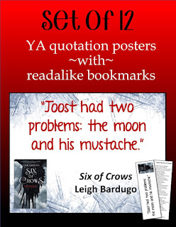 12 YA Quotation Posters With Readalike Bookmarks