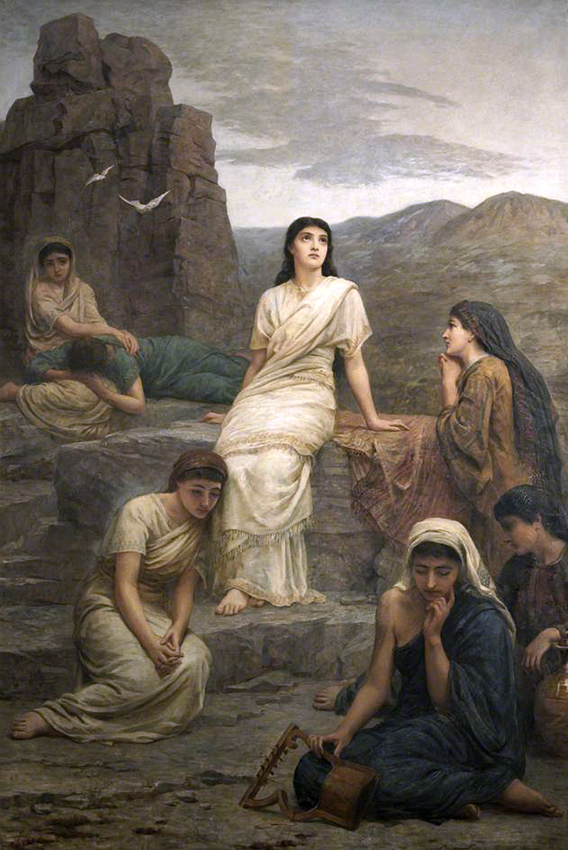 While Jephthah bemoans (express sorrow)  the fate to which his vow has brought him, his daughter merely affirms that he must do what he has vowed to do.