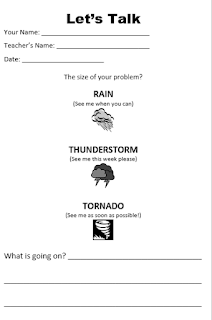 a copy of a student's self-referral form that asks them to decide if their problem is Huge (tornado), Medium (Thunderstorm), or Small (Rain).