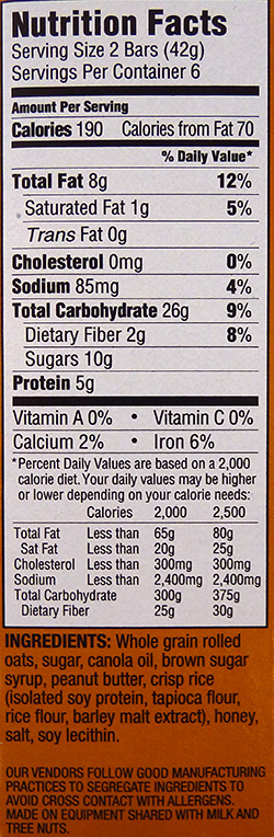 Whole Foods Homemade Granola Bar Nutrition Facts
