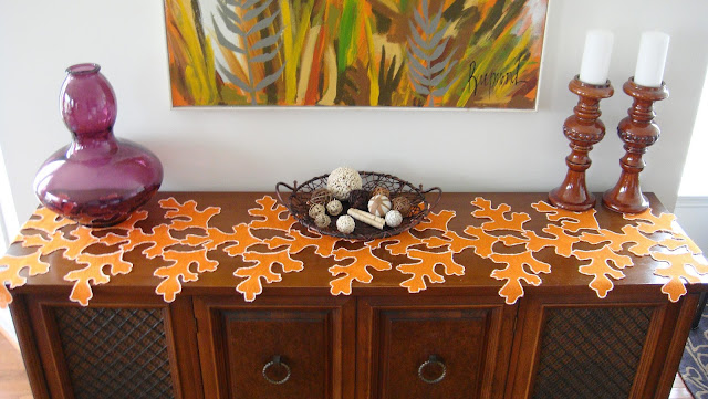 Orange Burlap Leaf Table Runner