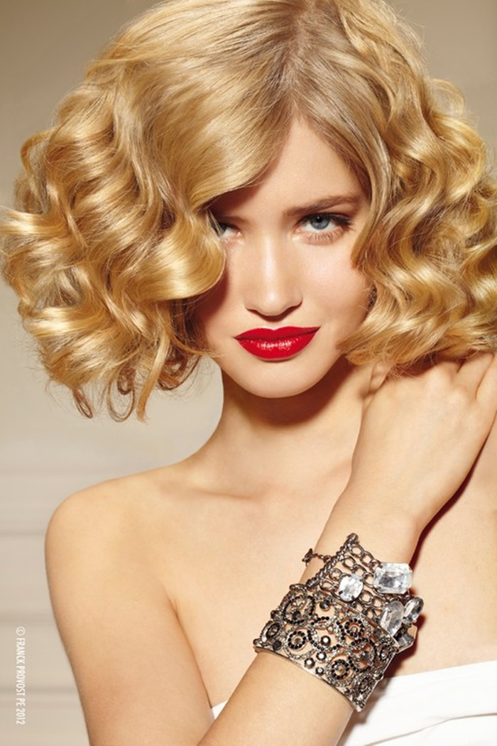 fake bob, faux bob hairstyle, blonde, red lips, curls, curly
