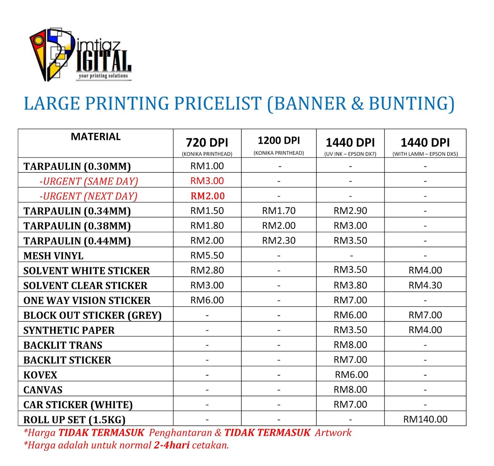Banner Bunting Murah Dan Berkualiti Pricelist Imtiaz Digital