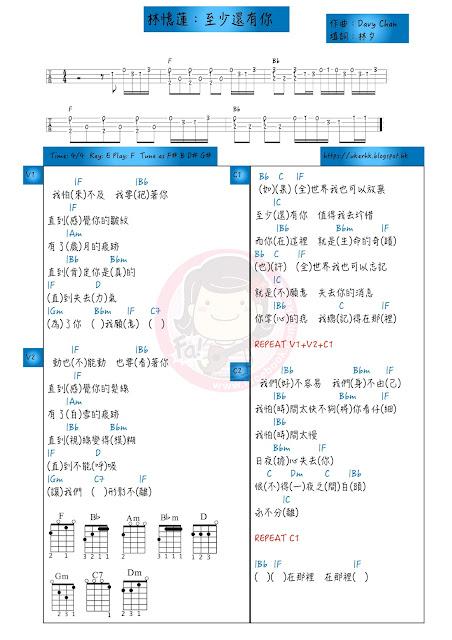 林憶蓮:至少還有你 ukulele chord譜