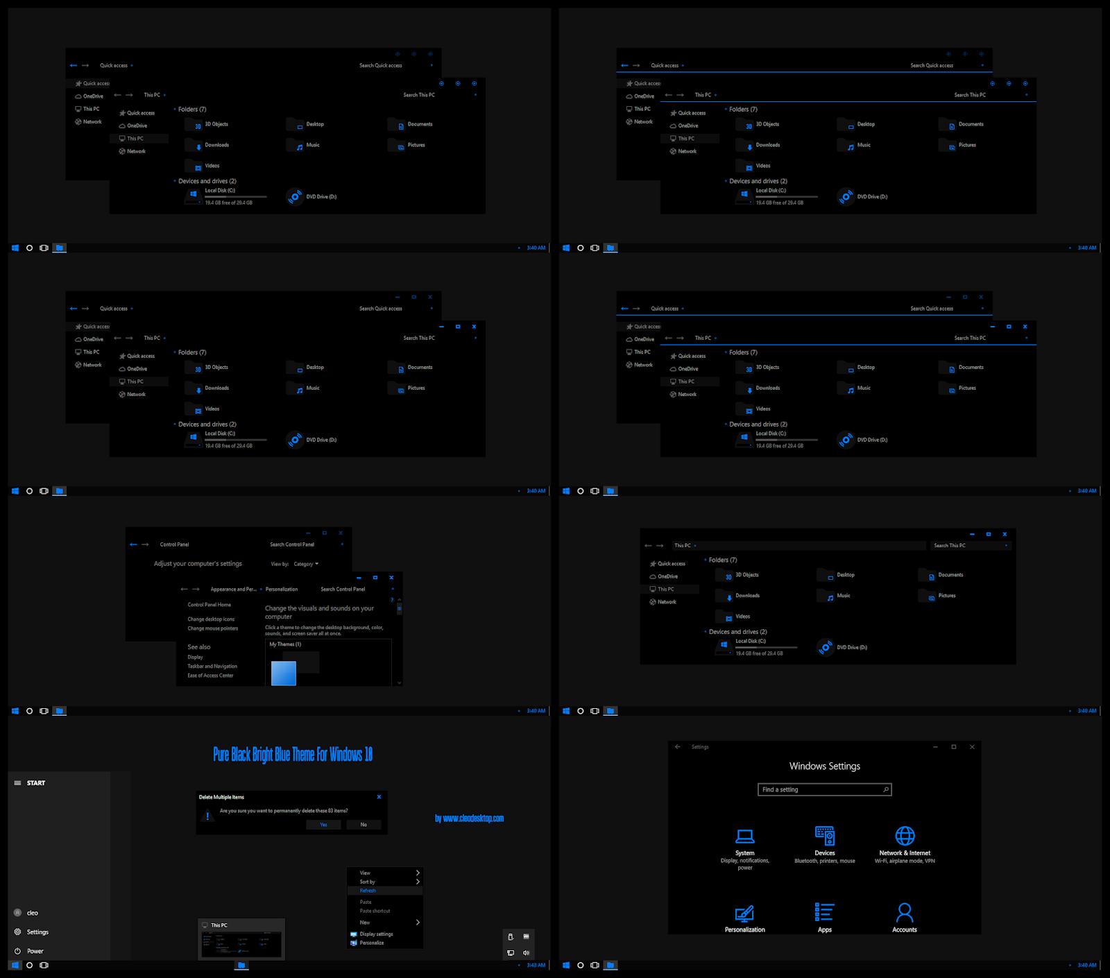 Pure Black Bright Blue Theme Windows10 May 2019 Update 1903