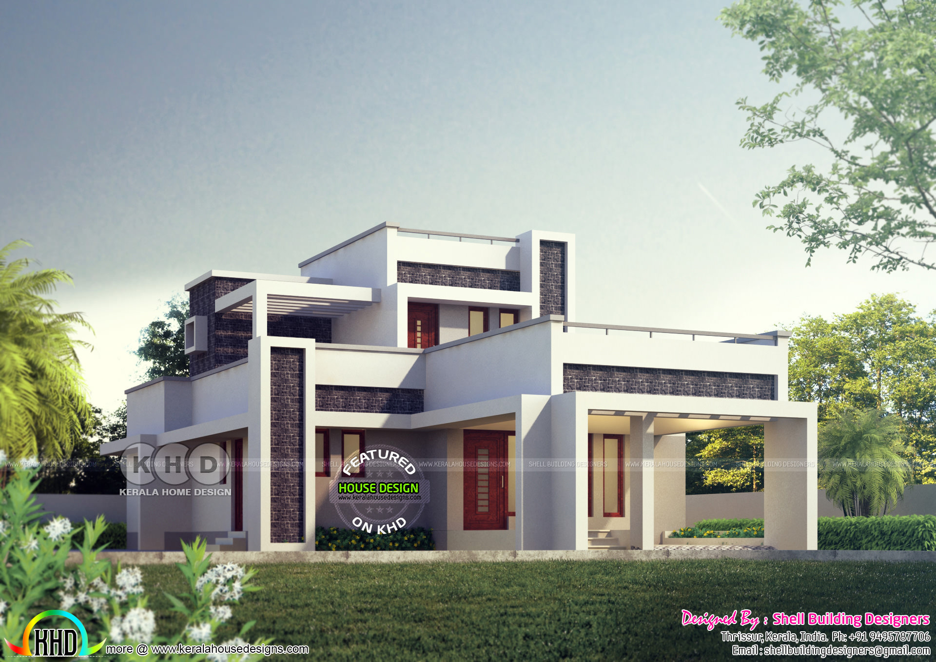Good 1766 Square Feet Flat Roof Modern Home