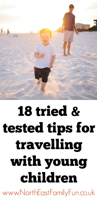 18 tried & tested tips for travelling with young children from parents who know including leaving the pushchair at home, how lego can save the day and always be prepared with at least 3 boxes of raisins
