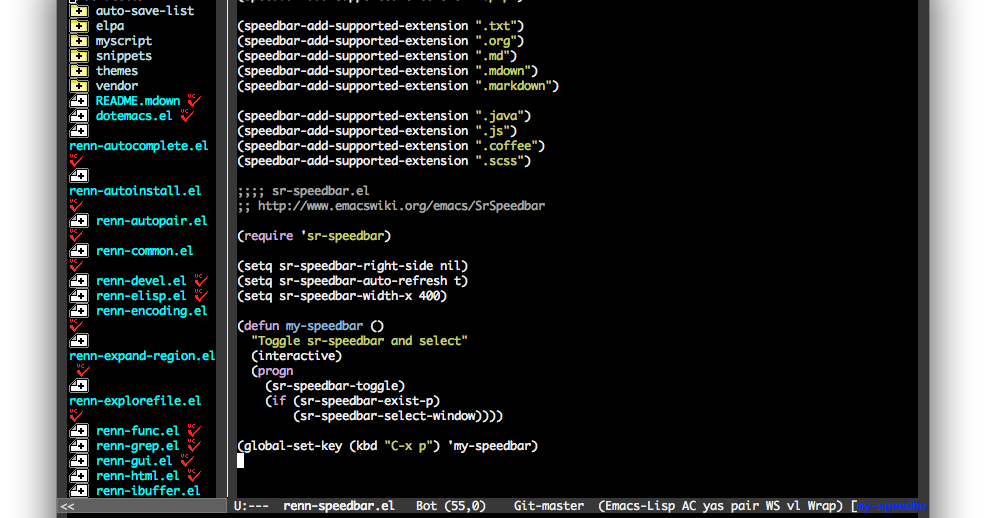 Emacs] Speedbar를 메인 윈도우에 넣기: sr-speedbar el