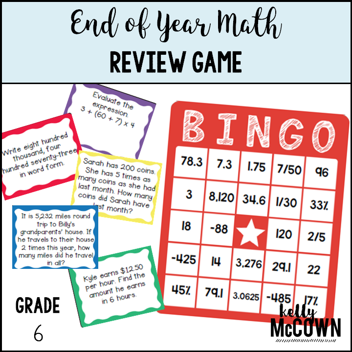 graphic about 7th Grade Math Bingo Printable named Kelly McCown: April 2019