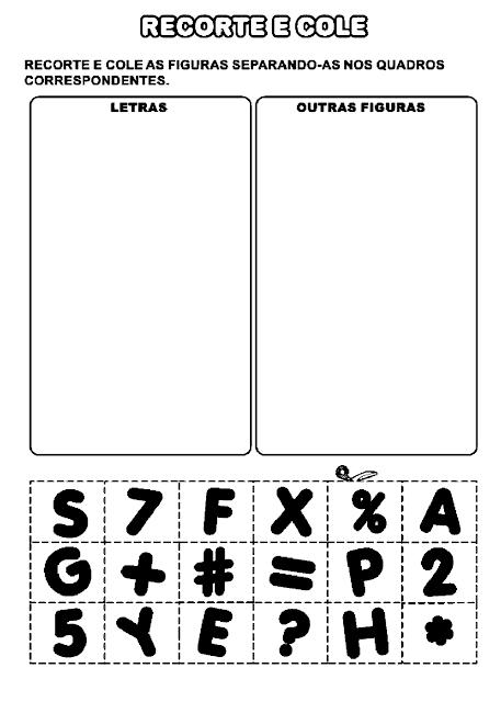 Atividade para diferenciar letras de outras figuras