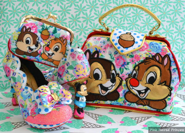 irregular choice mickey & friends chip n dale floral handbag and purse and sherbet ice cream minnie mouse heels