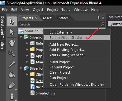Hello Program in Silverlight using Expression Blend & Visual