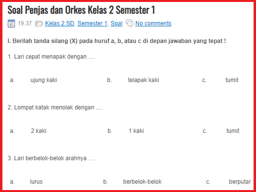 Soal Pelajaran Pjok Kelas 2 Sd