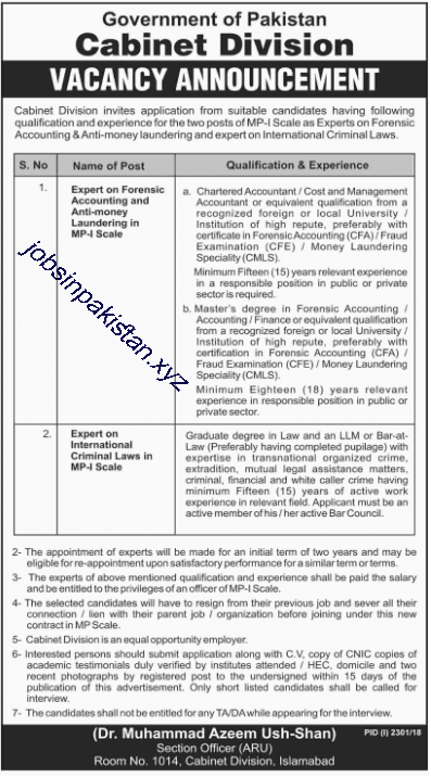 Advertisement for Cabinet Division Jobs 2018