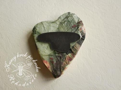 Serce ze styropianu decoupage DIY, magnes - zrobisz to sam